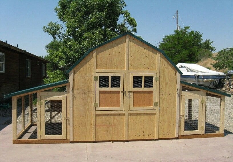 Large Wooden Chicken Coop with runs on either side