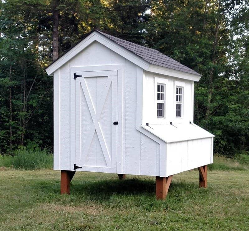 5ft wide x 6ft deep white chicken coop