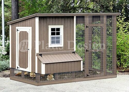 4 x 8 Shed style Hen house with enclosed run