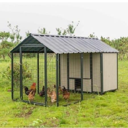 Steel frame tan chicken coop with run