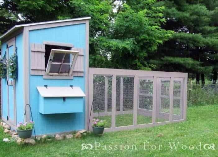 Bright Blue Shed chicken coop and run