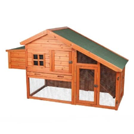 Wooden Raised chicken coop hutch style with downstairs run